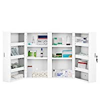 CASART. Premium Large Medicine Cabinet Locking First Aid Storage Cupboard, Wall Mounted Medical Kit Box W/ 180° door opening & 14 compartments,53 x 53 x 20 CM