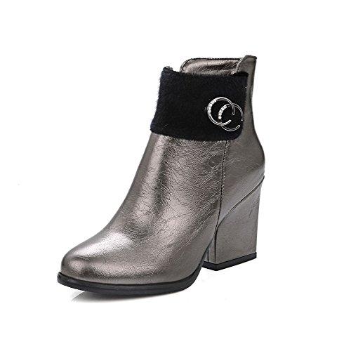 VogueZone009 Damen Niedrig-Spitze Reißverschluss Hoher Absatz Stiefel mit Metall Nägel, Rot, 34
