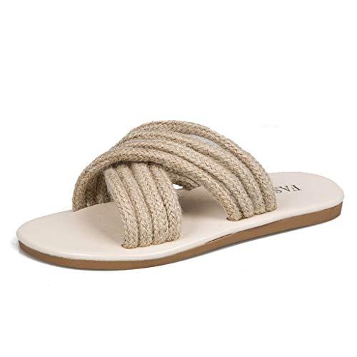 Damen Pantoletten Sommer Schuhe, Dorical Slippers Cane Flache Hausschuhe Hausschuhe Strand Komfort Sandalen Hausschuhe mit Rutschfest Weiche Sohle Gr.35-43 EU Reduziert(Beige,40 EU)