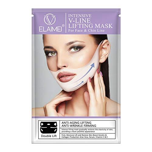 YusellYu_Mädchen Strampler Jumpsuit Yusell  V Facelifting-Festigungsmaske 4D Skinny Masseter Double Chin (Doppel-v-strampler)