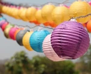 Dalek Designs Guirlande lumineuse LED à piles 20 mini lanternes en papier Multicolore