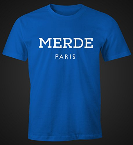 Merde Paris Herren T-Shirt Fun-Shirt Moonworks® Blau