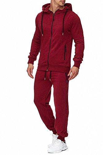 Tazzio Herren Sportanzug Jogginganzug Trainingsanzug Sporthose&Hoodie 17203 Bordo L -