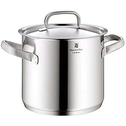 WMF Stock pot Ø 24 cm approx. 8,8l Gourmet Plus Inside scaling vapor hole Made in Germany hollow side handles metal lid Cromargan stainless steel suitable for all stove tops including induction