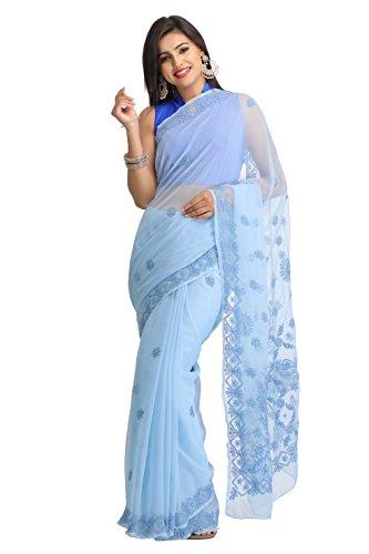 ADA Women's Faux Georgette Chikankari Ethnic Wear Saree (Blue) A129613