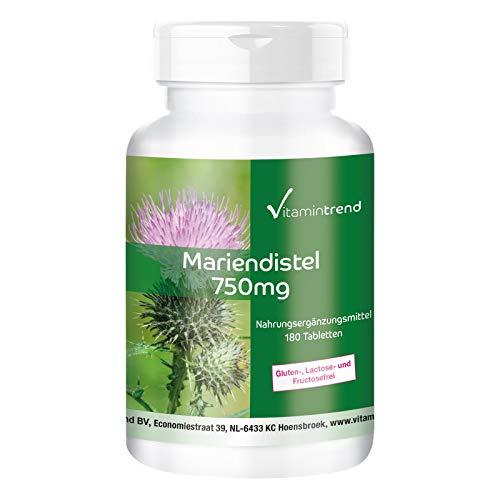 Mariendistel Extrakt 750mg - 80% Silymarin - 180 vegane Tabletten - Hochdosiert - Hergestellt in Deutschland
