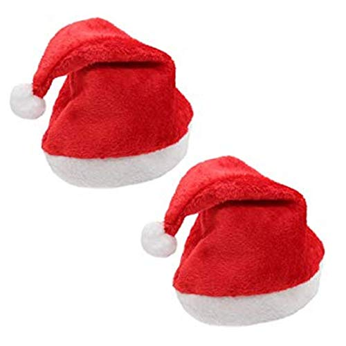 Masti Zone Set of 2 Christmas Santa Claus Hat / Santa Claus Cap Merry Christmas Hat Cap for Christmas /Xmas Party Celebration (Cap Santa_2)