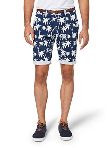 Relaxed Fit Cord Hose (TOM TAILOR für Männer Hosen & Chino Josh Regular Slim Chino Shorts mit Gürtel Blue White Palm Design, 40)