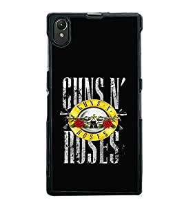 Fuson Premium 2D Back Case Cover Gun and rose With Multi Background Degined For Sony Xperia Z1::Sony Xperia Z1 L39h