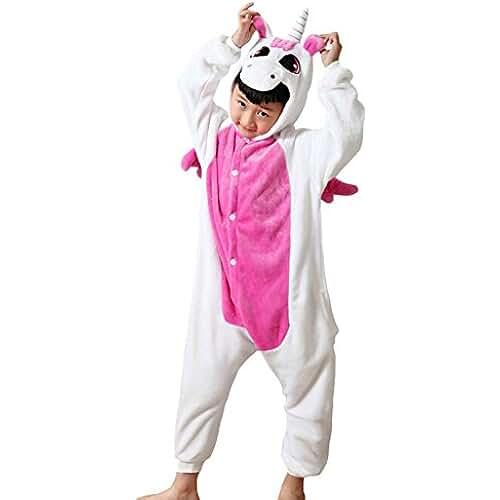 pijama de unicornio kawaii DEBAIJIA Kigurumi Pijama Animal Para Niños Niñas Disfrace Cosplay Franela Traje del Anime Invierno Calentito Pyjamas Navidad Onsie