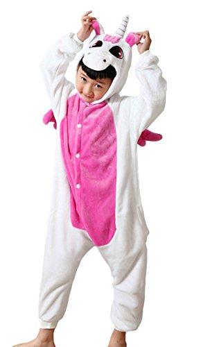 Kinder Einhorn Kostüme Flanell Jumpsuit Jungen Mädchen Tieranzüge Pyjama Overall Onesie Tierkostüme Rot - 125