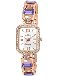 Swisstone GEM91W-LGT-PRPL White Dial Purple Stone Bracelet Wrist Watch For Women/Girls
