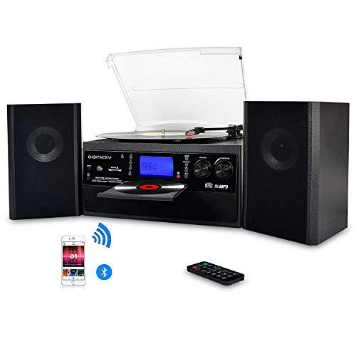 DIGITNOW! Bluetooth Vinile Giradischi, CD, cassetta, radio AM / FM e Aux in con porta USB e codifica SD - telecomando, lettore musicale stand alone, con due altoparlanti esterni, telecomando