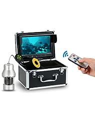 Lixada Professionnel Pêche Sous-Marine Caméra Poisson Finder avec des Boutons Tactiles 9 Pouces Grand Ecran Couleur Etanche 18 LEDs 360 degrés Caméra Tournante