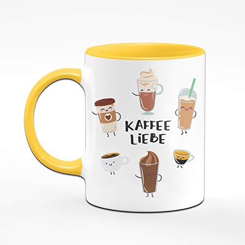 Tassenbrennerei Tasse mit Spruch Kaffee Liebe Cappuccino, Latte Macchiato, Milchkaffee - Süße Kaffeetasse ALS Bürotasse, Tassen mit Sprüchen (Gelb) - 2