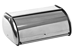 STORAGE BREAD BIN STAINLESS STEEL ROLL COVER. PLASTIC TRIM. KEEP BAKED GOODS NEW