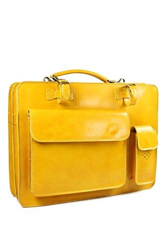 BELLI Design-Bag Voll Leder Echt Leder Businesstasche gelb DIN A4 geeignet 39x29x11 cm (B x H x T)