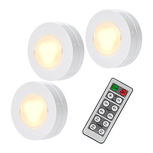 3er LED Puck Lichter, Lunsy Nachtlicht, Schrank Beleuchtung, Wandbeleuchtung mit Fernbedienung, dimmbares Unterschrank Beleuchtung, Batteriebetriebene Lampe (Schrank Wand)