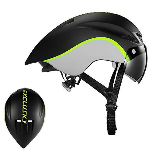 Exclusky Zikade Fahrrad Helm in Form Erwachsene Radsport Helm 56-61 cm weiß/schwarz mit Brille Shield-Verbesserte Version