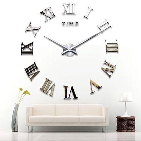 Yosoo DIY 3D Horloge Murale Design Géante Grande Taille Moderne Ronde avec Chiffres Romains pour Décoration Salon Bureau - Argent