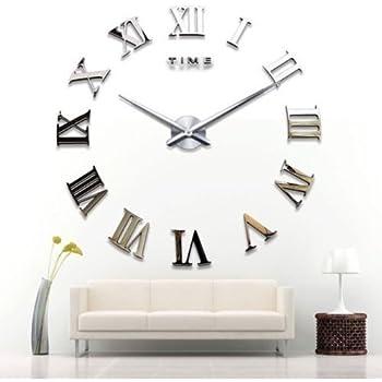 Yosoo diy 3d horloge murale design g ante grande taille moderne ronde avec chiffres romains pour for Pendule murale grande taille