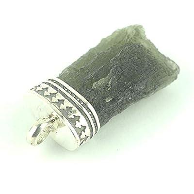"Pendentif de cristal Moldavite serti d'argent 925, 25x15x8 mm (0.98x0.59x0.31"")"