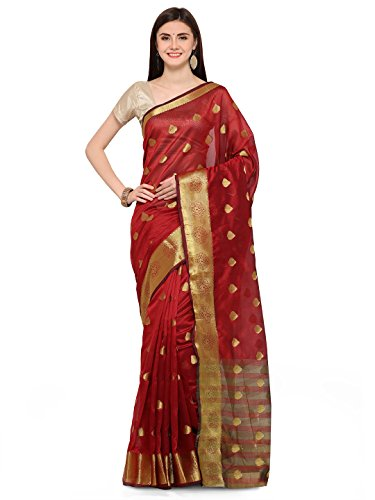 J B Fashion Women's Cotton Jaqard Maroon color Saree for women With...