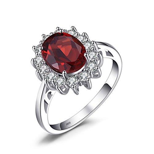 JewelryPalace Prinzessin Diana William Kate 2.5ct Natürliche Rote Granat Ring Verlobungsring damenring 925 Sterling Silber Größe 51 to 59