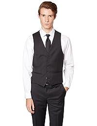 DKNY Slim Fit Grau Textured Anzug Weste UK