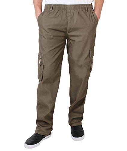 KRISP Männer Praktische Cargohose Gummizug Seitliche Taschen (Braungrau, Gr.M) (7918-TAU-M)