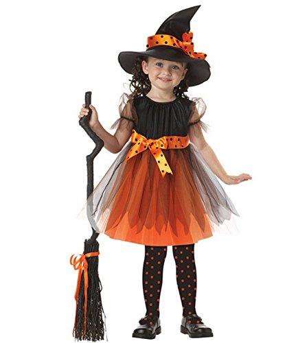 WLITTLE Halloween Kostüm Mädchen Kinder Hexe Kostüm Halloween Weihnachten Kostüm Mädchen Hexenkleid und Hut Halloween Cosplay Kostüm schwarz orange (3-11 Jahre alt) (Legolas Cosplay Kostüm)