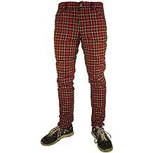 Pantalones Ajustados Rojo Tartán a Cuadros Emo Punk de Rock Rag