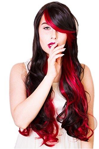 80cm Shinjuku Style Lolita - Schwarz Rot lange Welle langer Pony Perücke Wig (Schwarze Und Rote Kostüme Perücke)