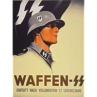 Waffen SS Poster Canvas, Waffen SS Print, Third Reich Print, Third Reich Canvas, Wehrmacht FRAMED CANVAS PRINT, Genuine Wood Internal Frame, Wall Art Decoration, High Quality Print, 3D Effect