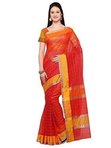 AppleCreation Women's Linen Saree With Blouse Piece (sarees new collection 2LNN202_Red)