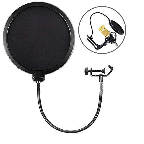 HAUEA Mikrofon Popschutz Absorber Filter Mic Schirm Runde Form Wind pop Filter mit Stand Clip, 6 Zoll schwarz -