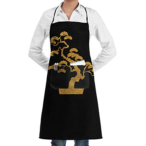 Ejdkdo Gold Bonsai Tree Japan Professional Grade Chef Kitchen Apron for Cooking BBQ And Grill †Men Women Design with 2 Pockets