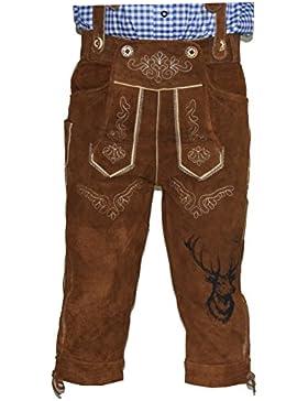 BGW Herren Trachten Lederhose mit träger Größe 46-60 Trachten Set,Hemd, Socken Neu