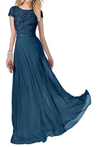La_mia Braut Modern Spitze Chiffon Kurzarm Abendkleider Partykleider Abschlussballkleider Lang A-linie Dunkel Blau