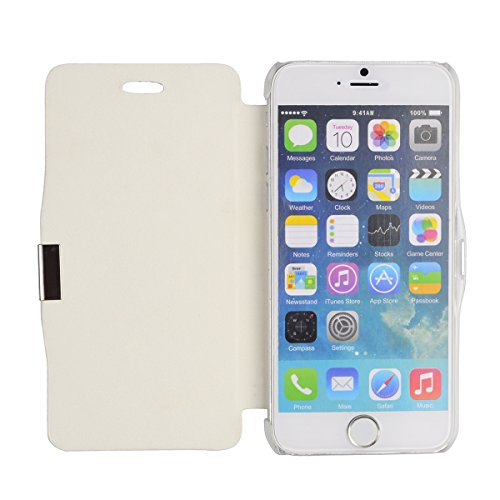 gada - Handyhülle für Apple iPhone 6 - Sehr schönes Leder-Imitat Flipcase Cover mit Magnetverschluss - Pink Weiß