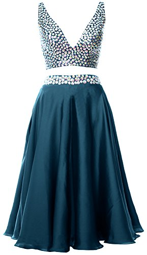 MACloth Women 2 Piece Short Prom Dress 2017 Straps V Neck Cocktail Formal Gown Teal