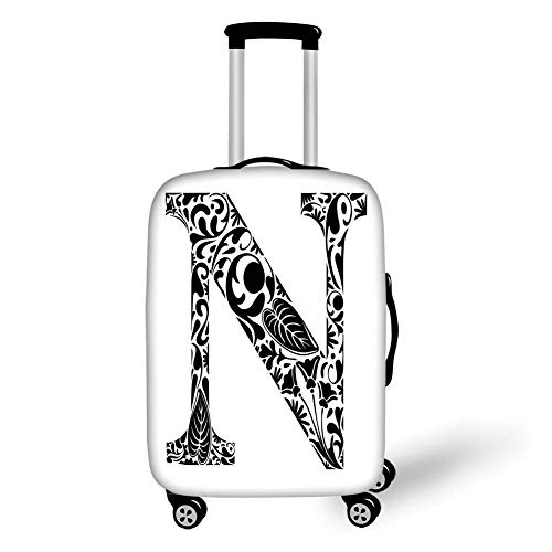 Travel Luggage Cover Suitcase Protector,Letter N,Black and White Floral Arrangement Pattern Flowers Petals Stalks and Leaves Print Decorative,Black White,for TravelL 25.9x37.8Inch