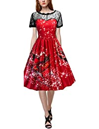 Reaso Vintage Robe Noël Robe de Soirée Cocktail Ladies Modern Rétro 1950's Rockabilly Swing Robe Mini Robe de Genous avec Ceinture