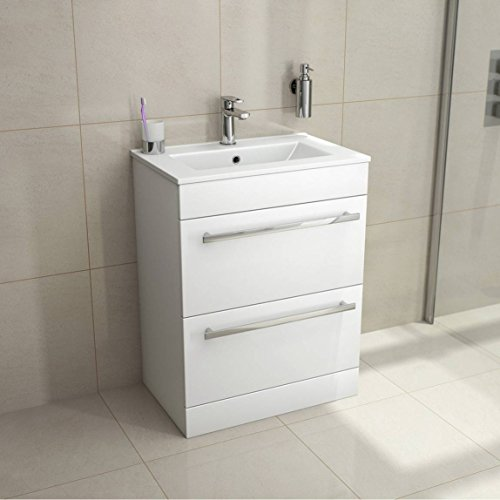 VeeBath Sphinx 600mm White Gloss Vanity Unit With Ceramic Basin Sink - Bathroom Storage Unit Furniture Cabinet