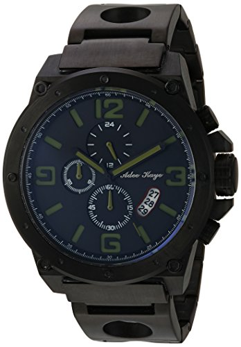 Adee Kaye Men's Quartz Stainless Steel Dress Watch, Color:Black (Model: AK8896MB-MGN)