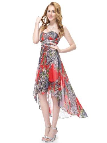 Ever Pretty Robe de cocktail asym¨¦trique au genou ¨¤ fleur de style Empire 06091 Rouge