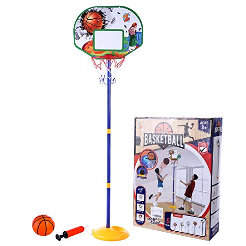 Seciie Einstellbare Basketballständer, 144cm Basketballkorb mit Ständer Höhenverstellbar Basketball-Backboard Ständer Hoop Set für Kinder ab 3 (Basketball Hoops Einstellbar)