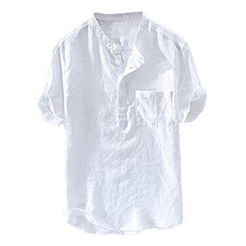 Fenverk Herren Slim-Fit Short-Sleeve Freizeithemd Standard-Fit Leinenhemd Leinen Shirt LangäRmelig Hemden Mit Stehkragen Kurze Knopfleiste Slim Fit(Weiß,XXL)