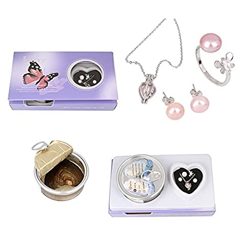 Pearl Necklace Set, Heart Rhodium Plated Necklace Pendant Locket Freshwater