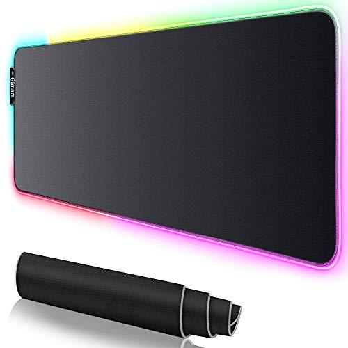 Gimars Gaming Mauspad mit RGB Beleuchtung, Gaming Mouse Mat mit hoher Genauigkeit,7 LED Farben und 10 Beleuchtungs-Modi, rutschfeste Gummibasis Computer-Tastaturunterlage, 780mmx305mmx4 mm